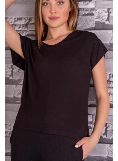 Stamina  Bayan V Yaka Kısa Kol Arkası Dikişli Bluz-5VS16 Siyah